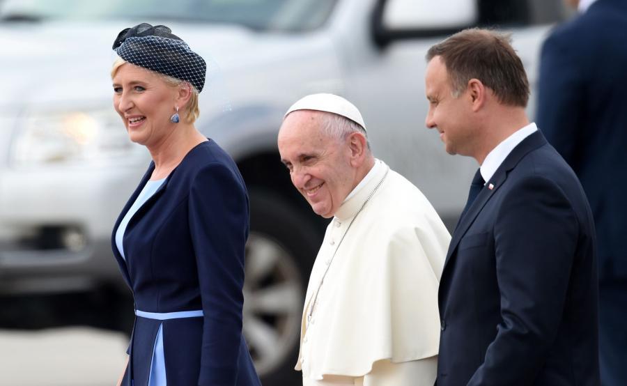Papież Franciszek, preydent Andrzej Duda i pierwsza dama
