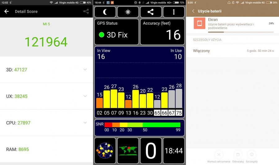 Xiaomi Mi5 - test w AnTuTu Benchmark, test GPS, czas pracy baterii