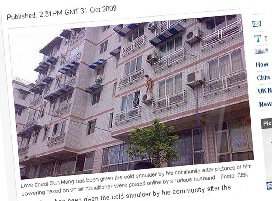 Zobacz nagiego kochanka, który uciekł z balkonu