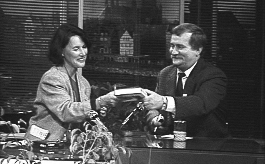 Anna Grzeszczuk-Gałązka i Lech Wałęsa w programie \