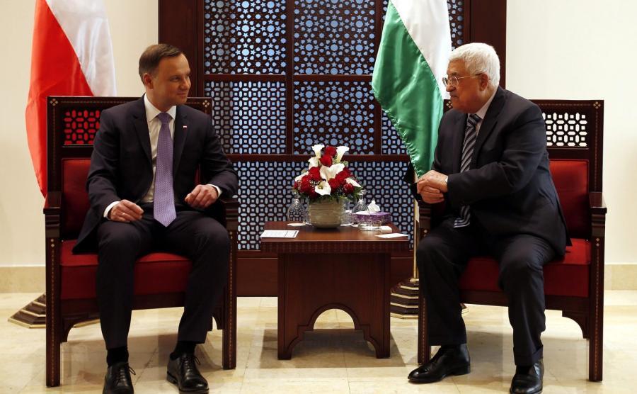 Andrzej Duda i Mahmud Abbas na spotkaniu w Betlejem