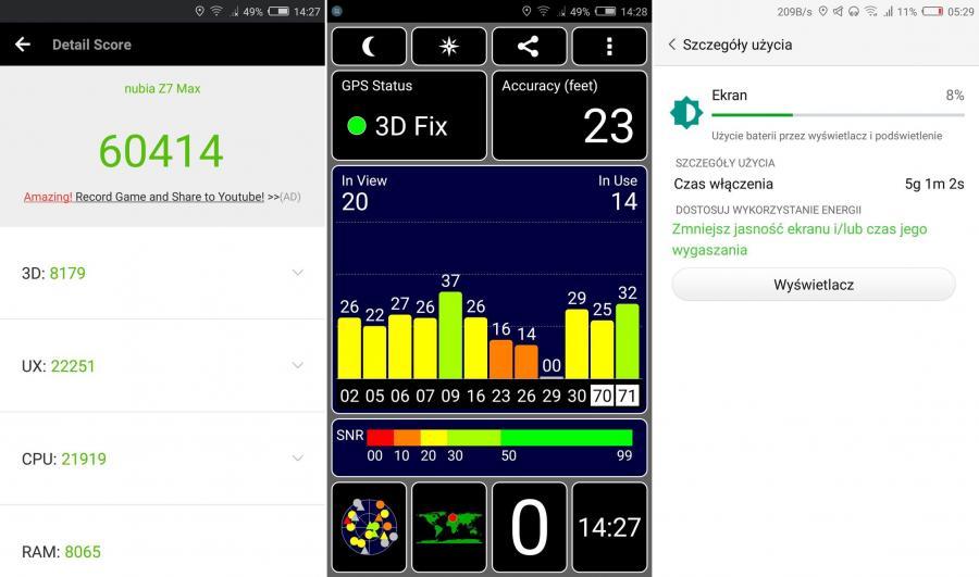 Telefon ZTE Nubia Z7 Max - AnTuTu Benchmark, test GPS, SOT