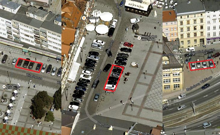 Przykładowe lokalizacje miejsc parkingowych dla aut elektrycznych we Wrocławiu